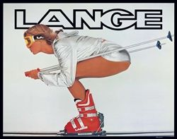 Lange Classic Tuck Vintage Ski Poster. This reproduction poster image is classic Lange material. This vintage poster features a model (Lange Girl) in a racers tuck.  Speed and beauty together. Size 22 x 28 inches.