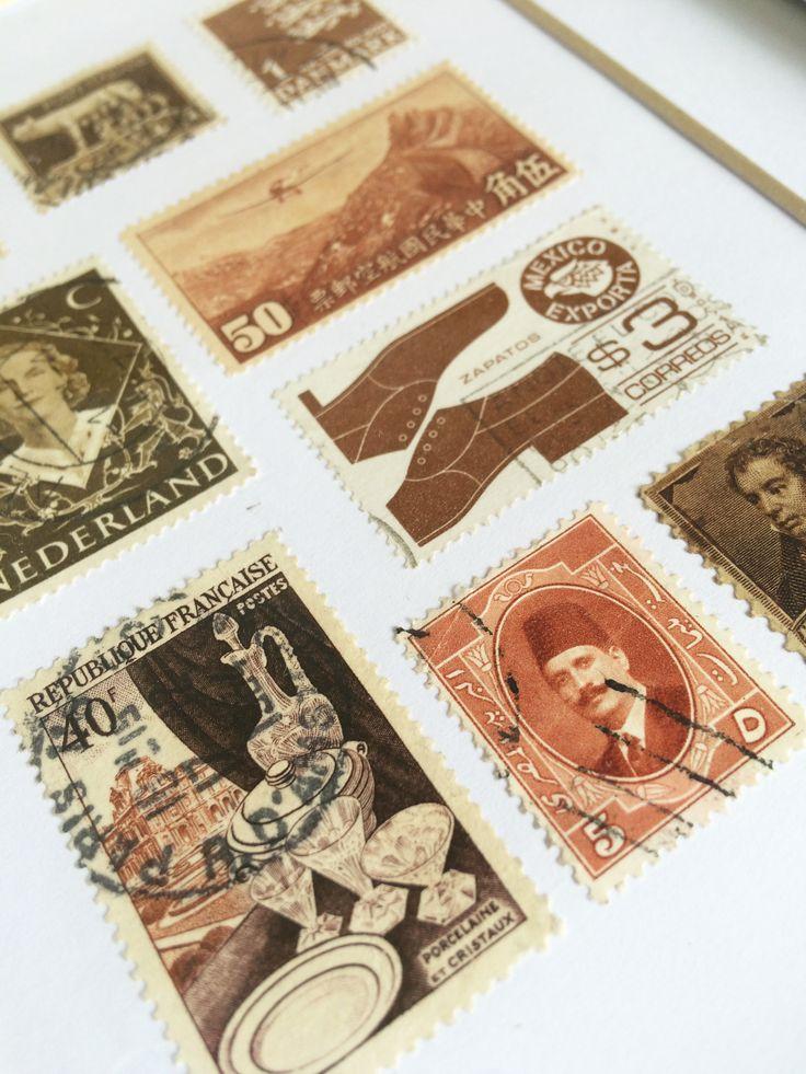 Vintage Stamps - Framed Artwork on Etsy