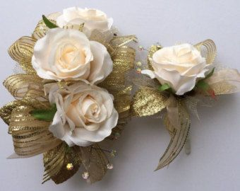 Corsage and Boutonniere Set Gold Ivory by jcmArtandDesign on Etsy