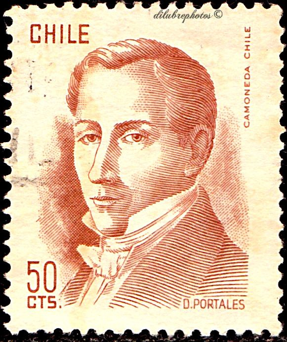 Chile.  DIEGO PORTALES, FINANCE MINSTER.  Scott 480 A253, Issued 1977, Litho., Perf. 13 x 14,  50. /ldb.