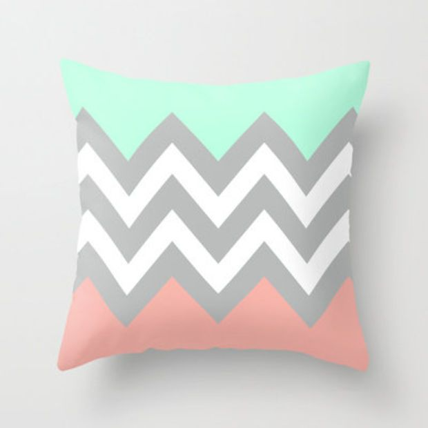 DOUBLE COLORBLOCK CHEVRON {MINT/CORAL/GRAY} Throw Pillow by Natalie Sales