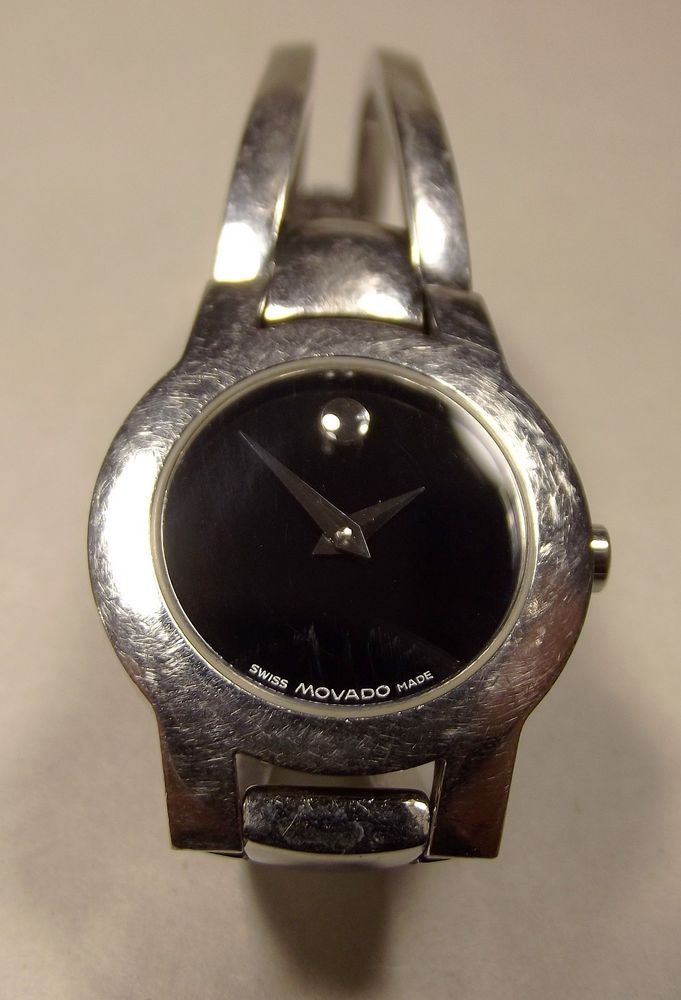 Ladies Movado Amorosa Stainless Steel Black Museum Dial Swiss Made Watch   #Movado #LuxuryDressStyles