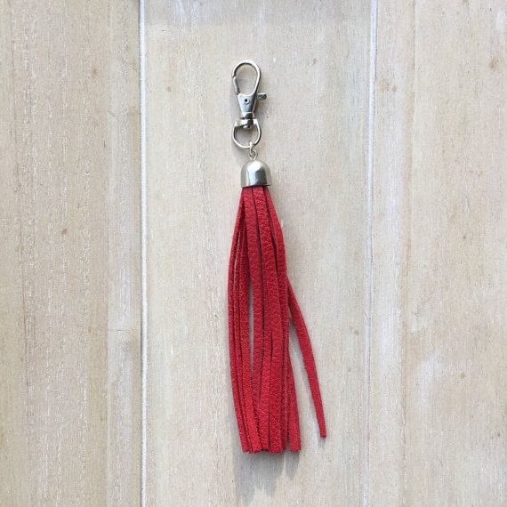 Bag chain or key chain red leather fringe tassel