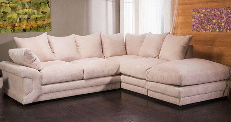 Cammie Fabric Corner Sofa : Cream Discounted Couch