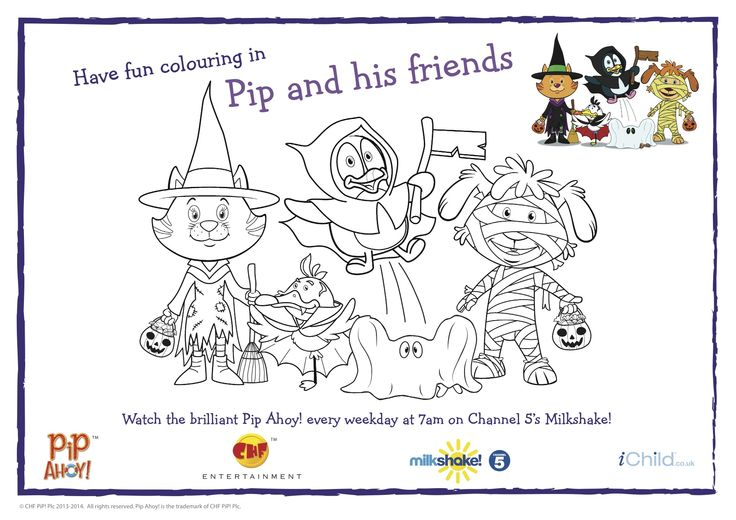 Happy Halloween! Pip and Friends in their Halloween costumes Colouring In Sheet! #Halloween