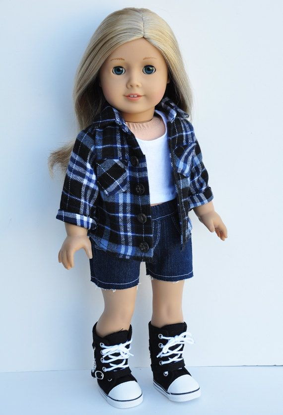 American Girl Clothes Navy Blue Plaid by LoriLizGirlsandDolls