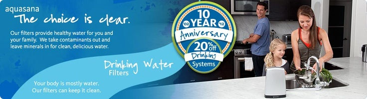 drinking filtered water from an Aquasana home water filtration system
