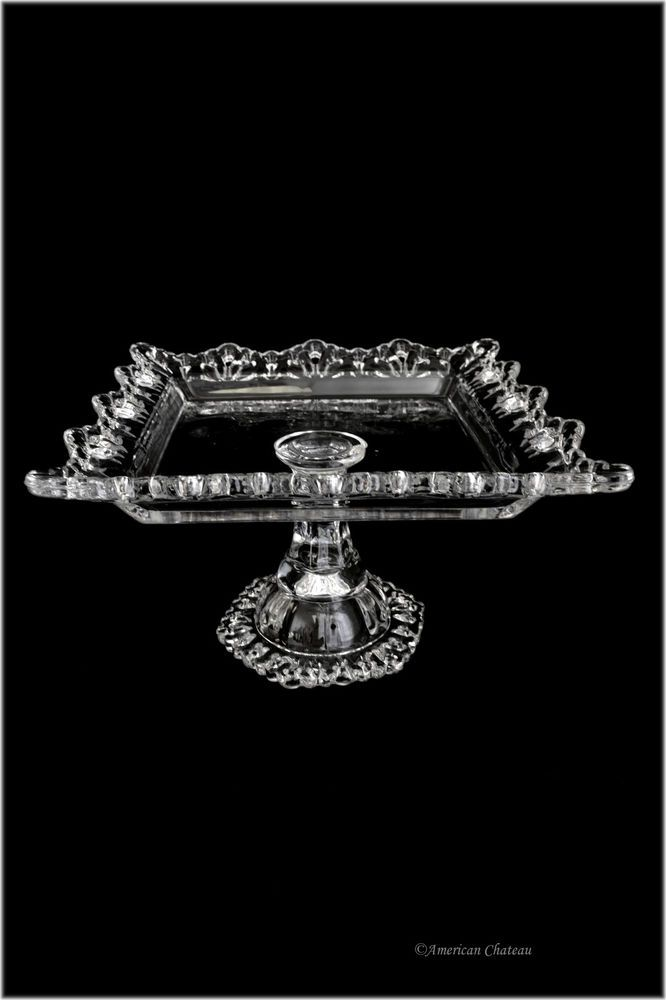 9  Clear Vintage-Style Glass Square Pedestal Cake DESSERT Pastry Plate Stand  sc 1 st  Pinterest & 101 best Vintage Cake Plate Collection images on Pinterest | Vintage ...