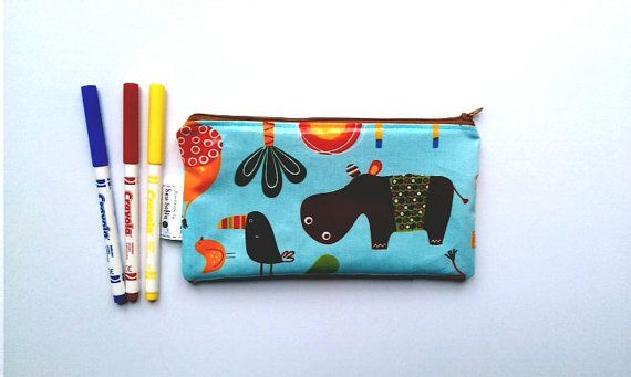 SALE  Jungle Animals Zip Pencil Case // Animals zipped by SewSofia