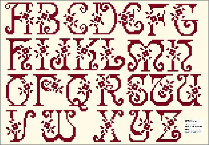 Cross Stitch alphabet, floral