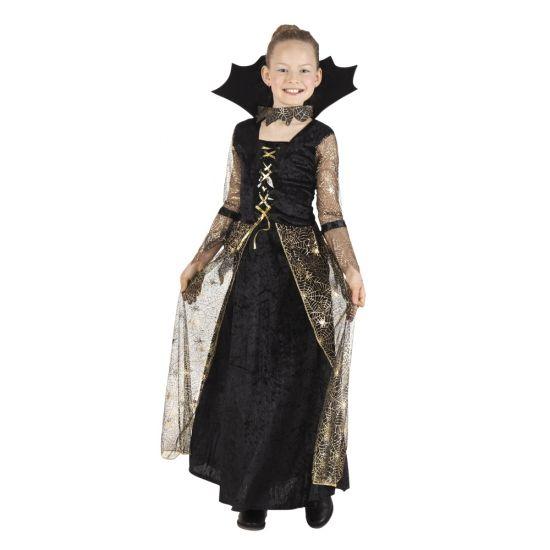 Zwart met gouden heks verkleedjurk voor meiden. De jurk met uitlopende mouwen heeft een opstaande kraag met ketting, doorzichtige mouwen en een doorzichtige overrok. Materiaal: 100% polyester.