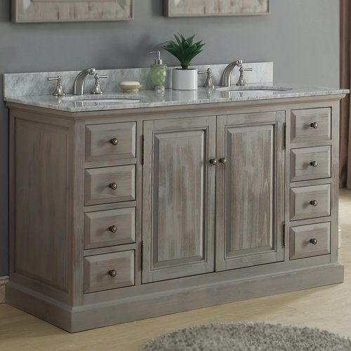 "Rustic Bathroom Vanity Set: 61"" Double Bathroom Vanity Set In 2019"