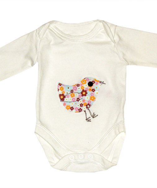 Pink Bird Babygro / Onsie by WithHugsandKisses on Etsy, $10.99