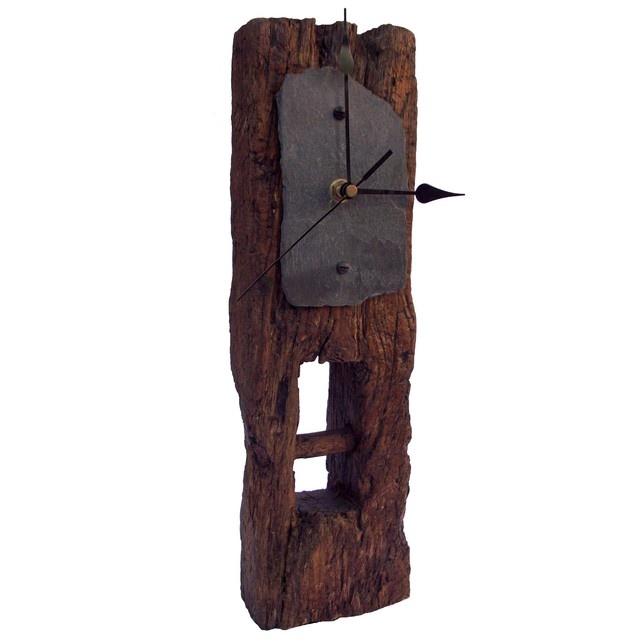 Clock - Oak & Slate Face Tall Mantel Clock
