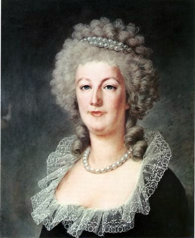 Marie Antoinette in 1791, painted by Alexandre Kucharski. Already a sombre-looking figure, legend has it her hair turned white overnight during the return from Varennes.