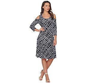 Susan Graver Liquid Knit 3/4 Sleeve Cold Shoulder Dress
