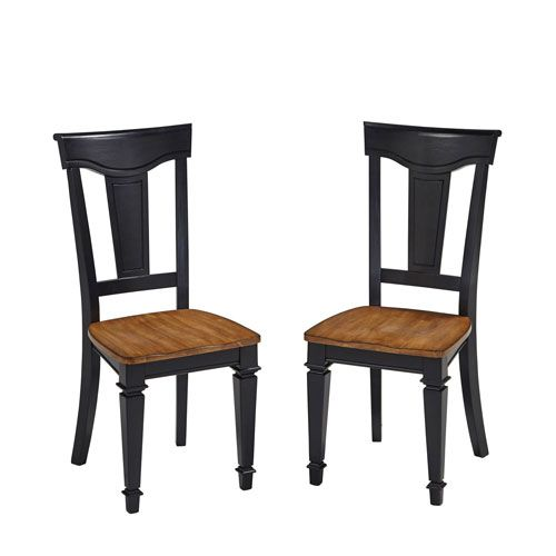 Americana Black/Oak Dining Chair Pair