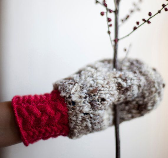 Double Mittens knitted in grey fluorescent magenta pink  by mosgos, $95.00