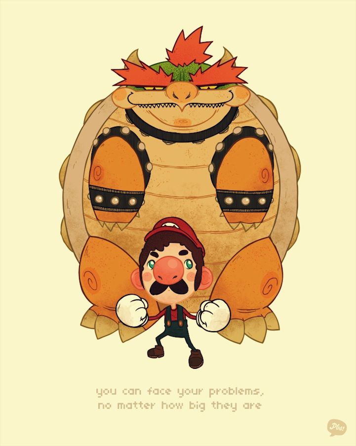 Stuff I Learned From Video Games by PaperBeatsScissors.  Mario and Bowser.: Face, Mario, Problems, Stuff, Illustration, Videos, Video Games, Life Lessons Learned, Videogames