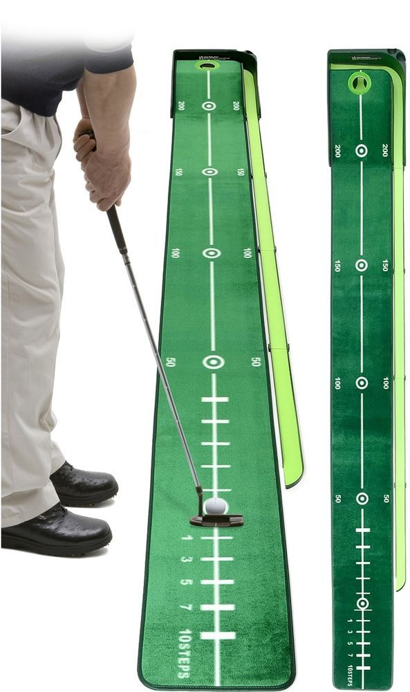 Indoor Golf Putting Mat Green Practice Home Office Long Ball Return