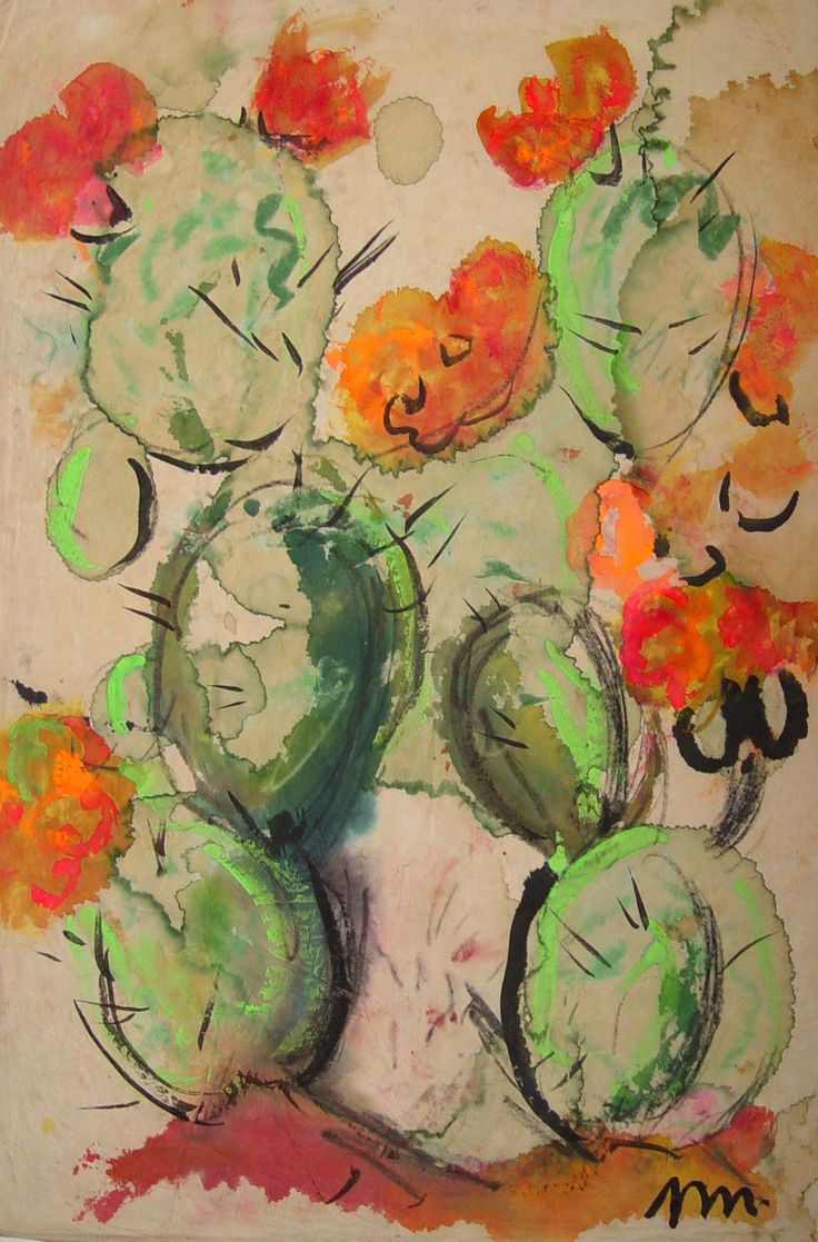 Watercolor artists in texas - Modernist Cactus By Josephine Mahaffey