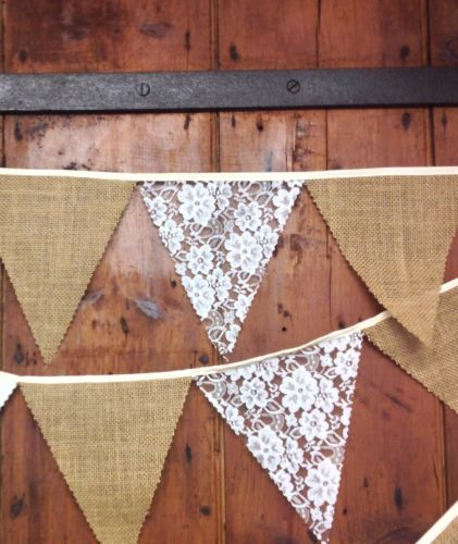 Rustic jute hessian burlap & lace bunting sold by the metre wedding decoration