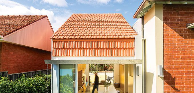 Monier Terracotta Marseille roof tiles used in a vertical application in Sydney's inner west.