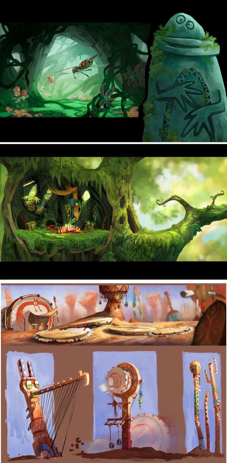 Mais concept arts de Rayman Origins, por Floriane Marchix   THECAB - The Concept Art Blog via PinCG.com