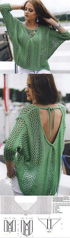 Пуловер с красивым глубоким вырезом. Стильное вязание спицами   Домоводство для всей семьи