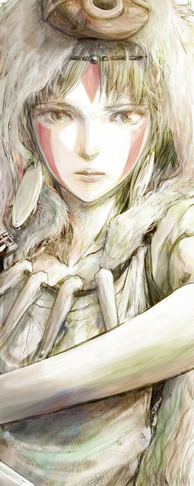 Princess Mononoke, the intensity and sadness in her eyes. Beautiful!