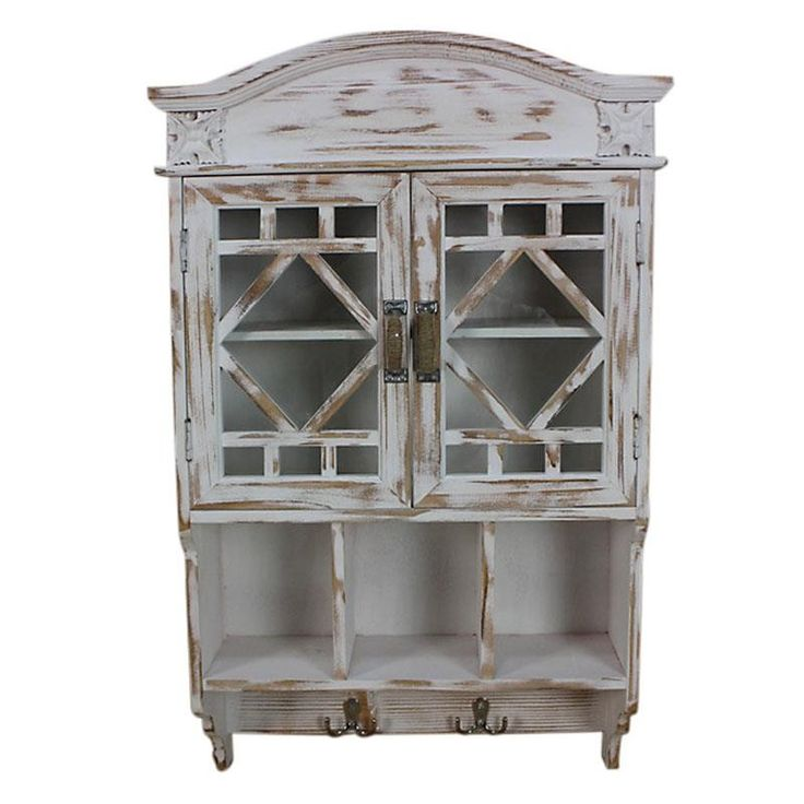 WOODEN WALL CABINET IN WHITE/BEIGE COLOR 45X17X74 - Showcases - Closets - FURNITURE