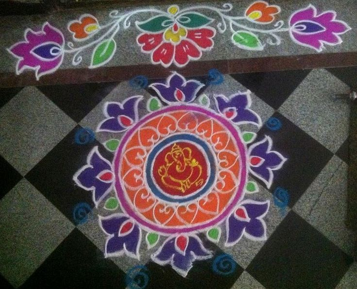 Simple Ganesh Rangoli Designs for Diwali