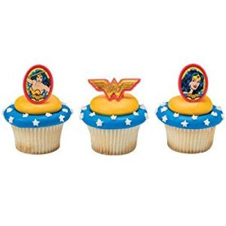 24 Wonder Woman Amazing Amazon Cupcake Cake Rings Birthday Party Favors Toppers