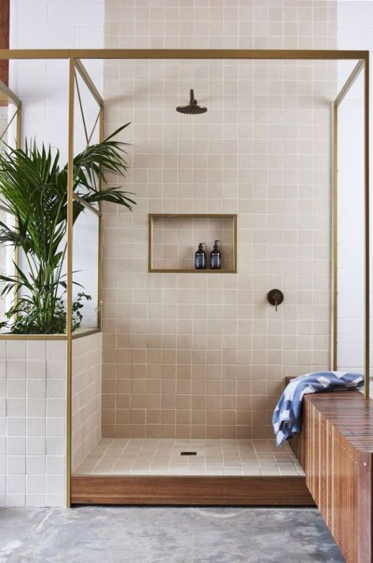 Absolutely love the open outdoor style shower. The fresh, clean rawness of it is so endearing. This wood + tile is almost retro!