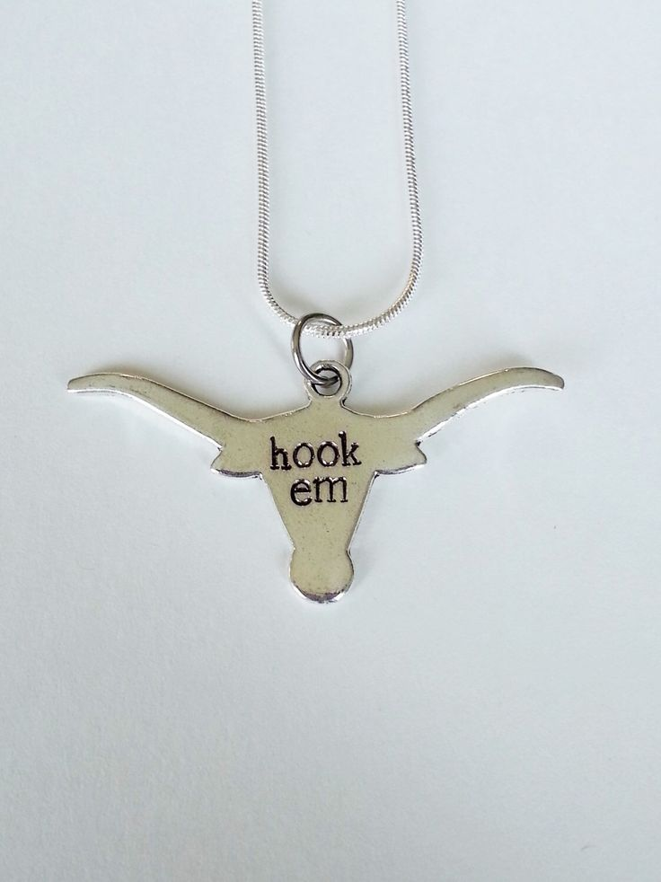 UT University of Texas Longhorn Hand Stamped Hook Em Silver Necklace -- College Football Game Day by TempleStamping on Etsy https://www.etsy.com/listing/185049227/ut-university-of-texas-longhorn-hand