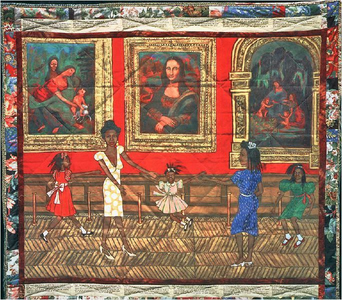 Dancing at the Louvre, Faith Ringgold, 1991, Acrylic on canvas, tie-dyed, pieced fabric border, 73.5 x 80 inches