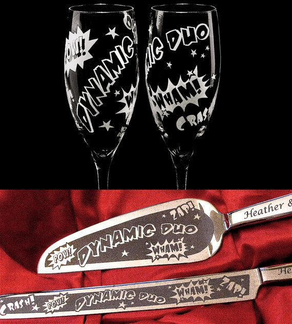 Comic Book Wedding Champagne Glasses, Cake Server and Knife, Wedding Toasting Flute Set