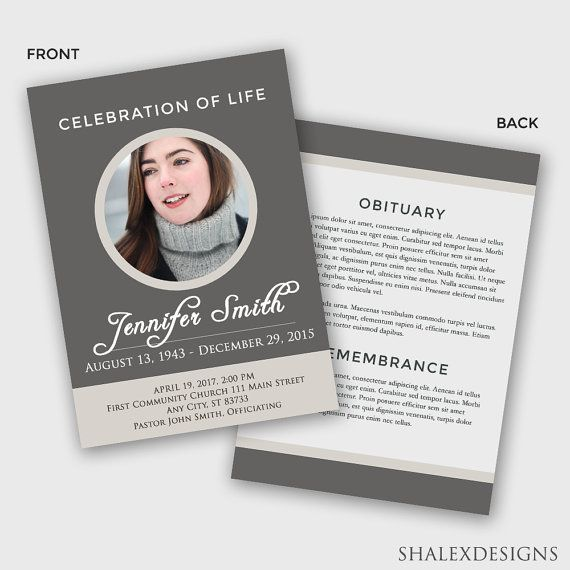 Celebration of Life Funeral Template - Photoshop PSD *INSTANT - death announcement templates