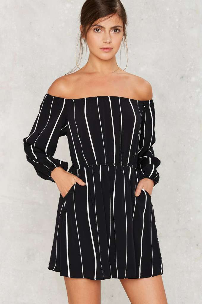 Line of the Times Off-the-Shoulder Dress - Clothes | Day | Stripes