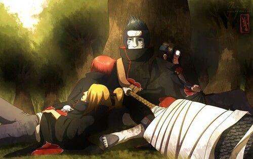 Deidara, Sasori, Kisame, Itachi, sleeping, cute, Akatsuki; Naruto