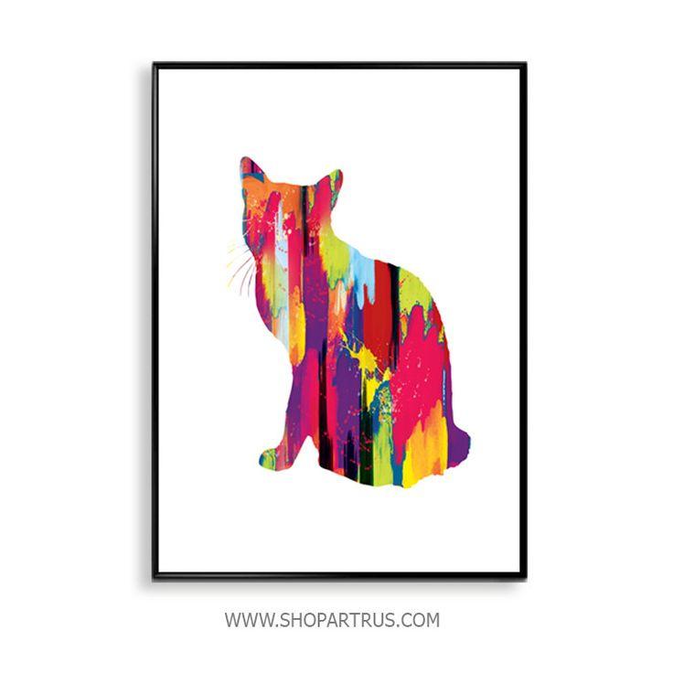 Cat print, cat art, cat wall art, cat print art, pet print, pet wall print, watercolor pet print, watercolour art, watercolour wall art WT45 by artRuss on Etsy