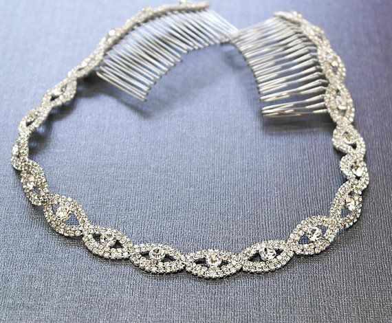"""Silver Wedding Headband, Bridal Headpiece, Rhinestone Headband, Hair Tiara, Flower Girl,Hair Jewelry, Bridesmaid, Hair Accessory-HA011   This headband is made with a high quality rhinestone trim. It is finished off with two silver steel hair combs, which nicely tucks in your hair. The hairband is perfect for both an up-do and a down-do.  **Measurement Trim Size: 16"""" or 18"""" long Comb Size: Approx. 3long"""