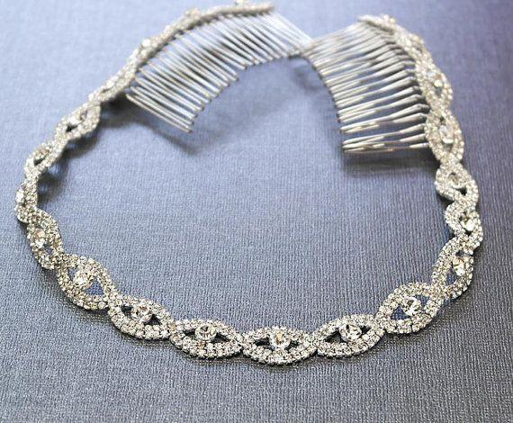 Zilveren bruiloft hoofdband bruids zendspoel van Kimsically op Etsy