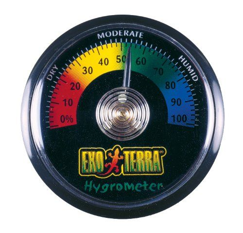 Exo Terra Hygrometer - The Exo Terra Hygrometer monitors humidity levels effectively and easily. The humidity level is an important factor in keeping your reptiles or amphibians healthy and stress free. It is easy to read and install. Maintaining the proper temperature and humidity levels in a terrarium is vital for th...