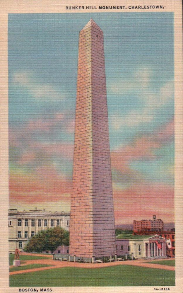 Bunker Hill Monument Charlestown Boston Massachusetts Old Vintage Linen Postcard