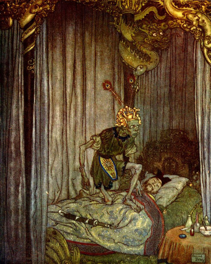 "Edmund Dulac -  ""Even Death himself listened to the song  and said, ""Go on, little nightingale,  go on!"" from the story ""The Nightingale""  found in ""Stories from Hans Andersen"" (1911) 