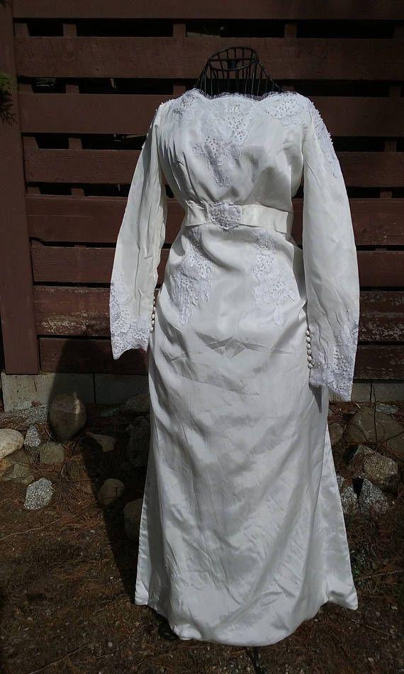 des années 1940 à manches longues Satin blanc, robe de mariée-taille 8