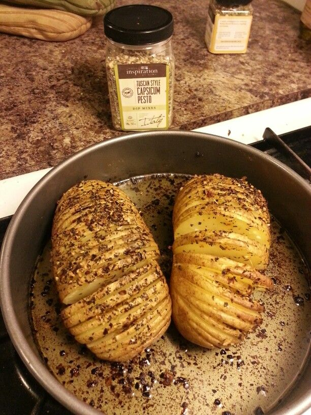 Oven roasted potatoes topped with Tuscan style pesto from Your Inspiration at Home
