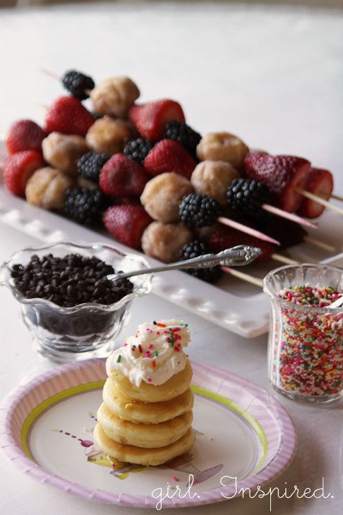 mini pancakes + toppings and breakfast kebabs with strawberries, blackberries and doughnut holes
