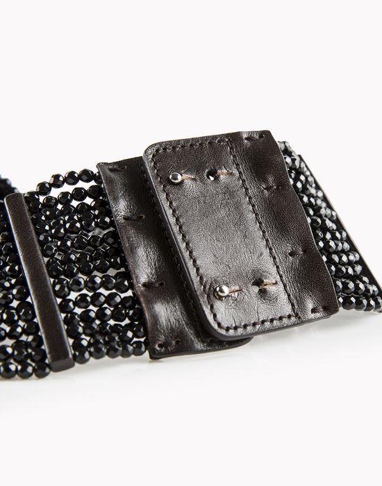 Brunello Cucinelli halskette kette aus schwarzem achat und leder